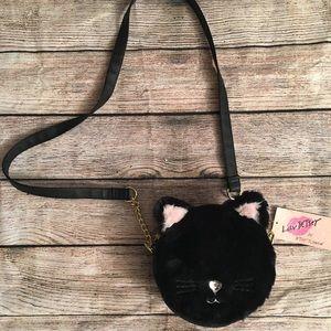 NWT Betsey Johnson Fuzzy Cat Purse